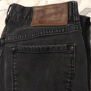 Dark faded black denim jeans by Penguin